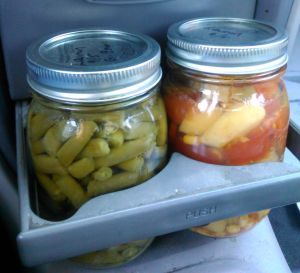 My very own jars of green beans and veggie soup that fit perfectly in my car's drink carrier. Who knew?